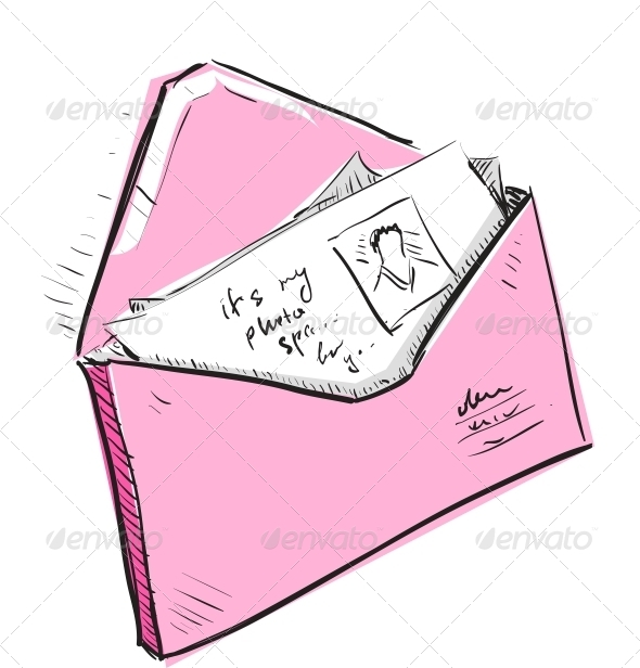Letter and Photos in Envelope Cartoon Icon - Communications Technology
