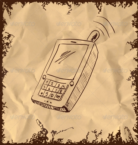Old Mobile Phone on Vintage Background - Communications Technology
