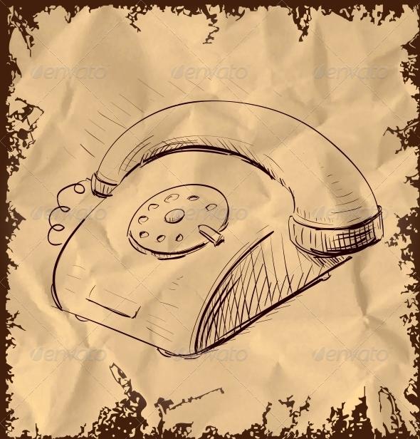 Retro Phone Isolated on Vintage Background - Communications Technology
