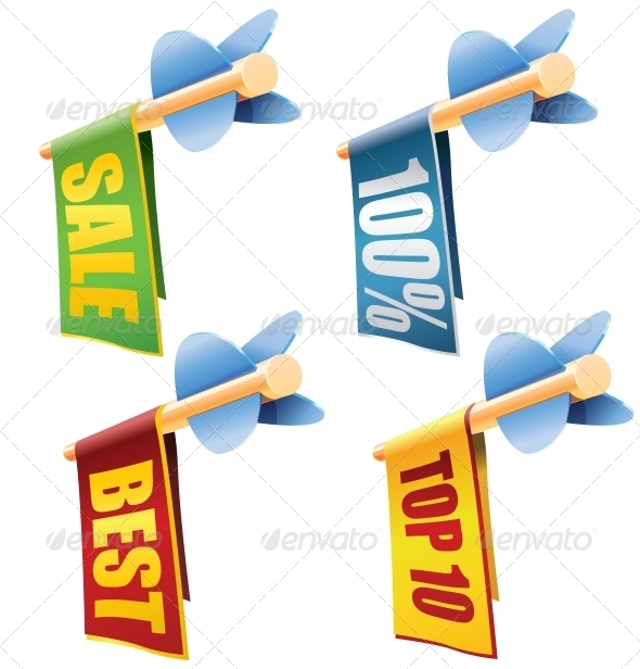 Set of Four Arrows with Banners and Sale Texts - Miscellaneous Conceptual