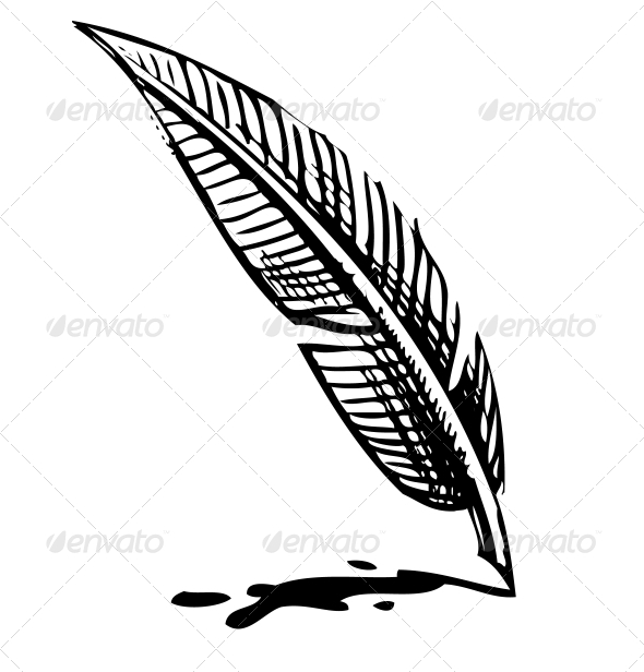 Writing Quill with Ink Blot - Miscellaneous Vectors