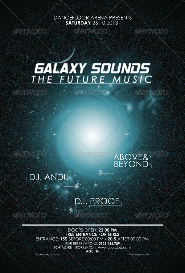 galaxy sounds flyer template by criscx22 graphicriver