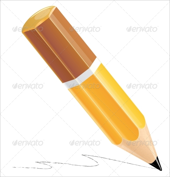 Pencil Isolated on White - Miscellaneous Vectors