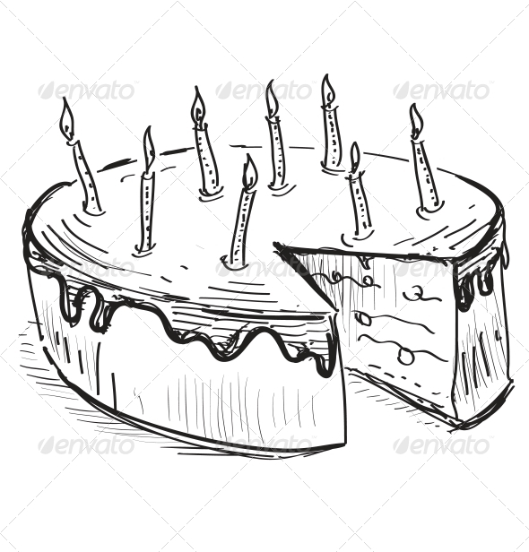 Birthday Cake with Candles - Food Objects