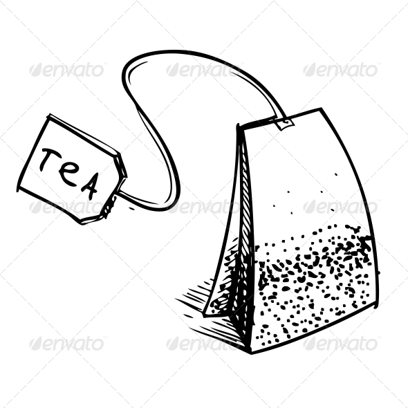 Tea Bag with Label - Food Objects