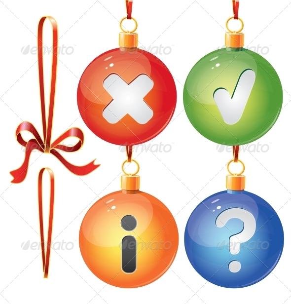 Christmas Toy Balls on Ribbons - Christmas Seasons/Holidays