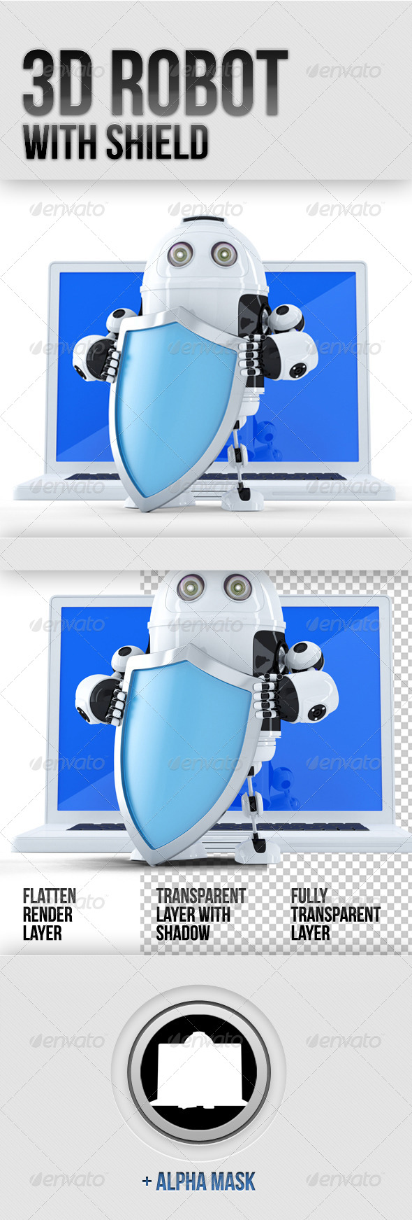 3D Robot with Shield - Technology 3D Renders
