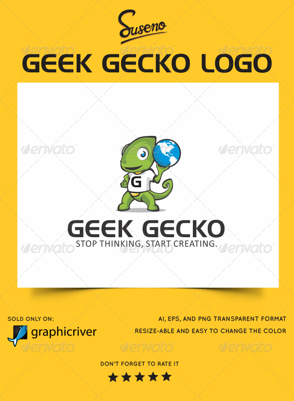 Geek Gecko Logo - Animals Logo Templates