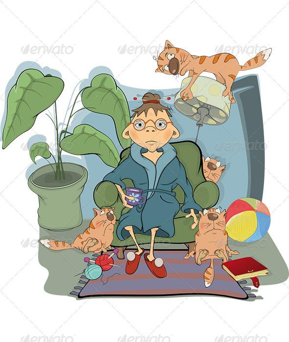 Grandmother and Her Cats Cartoon  - Characters Vectors