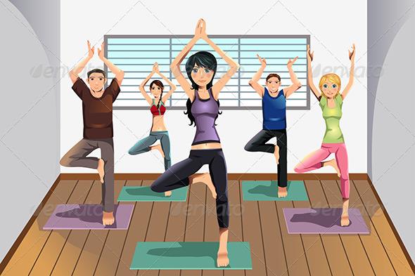 Yoga Students at Yoga Studio - Sports/Activity Conceptual