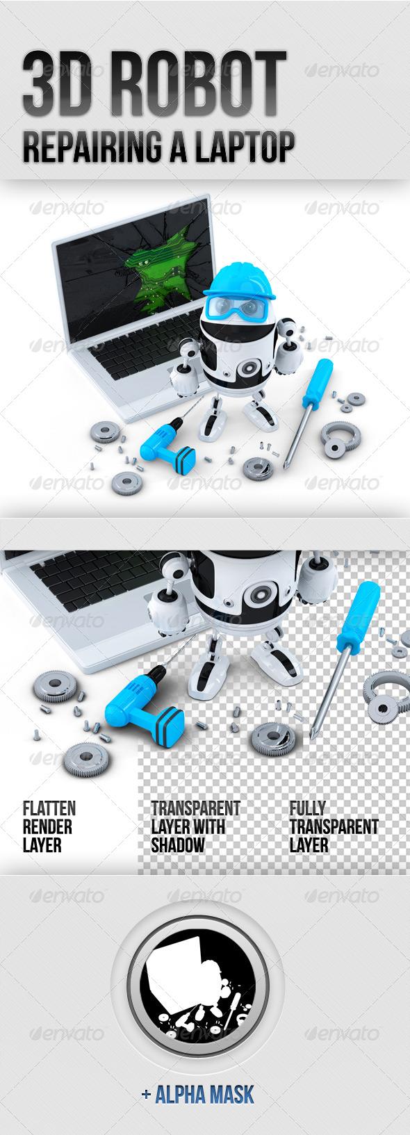 3D Robot Repairing Laptop - Characters 3D Renders