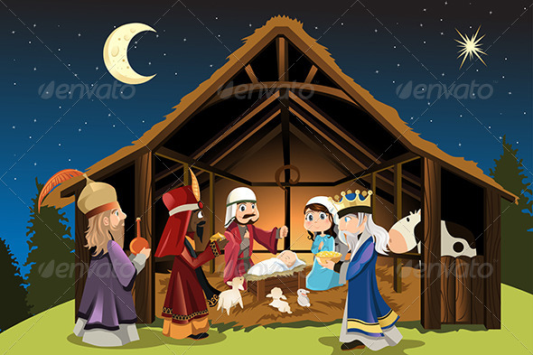 Jesus Christ and Three Wisemen - Christmas Seasons/Holidays