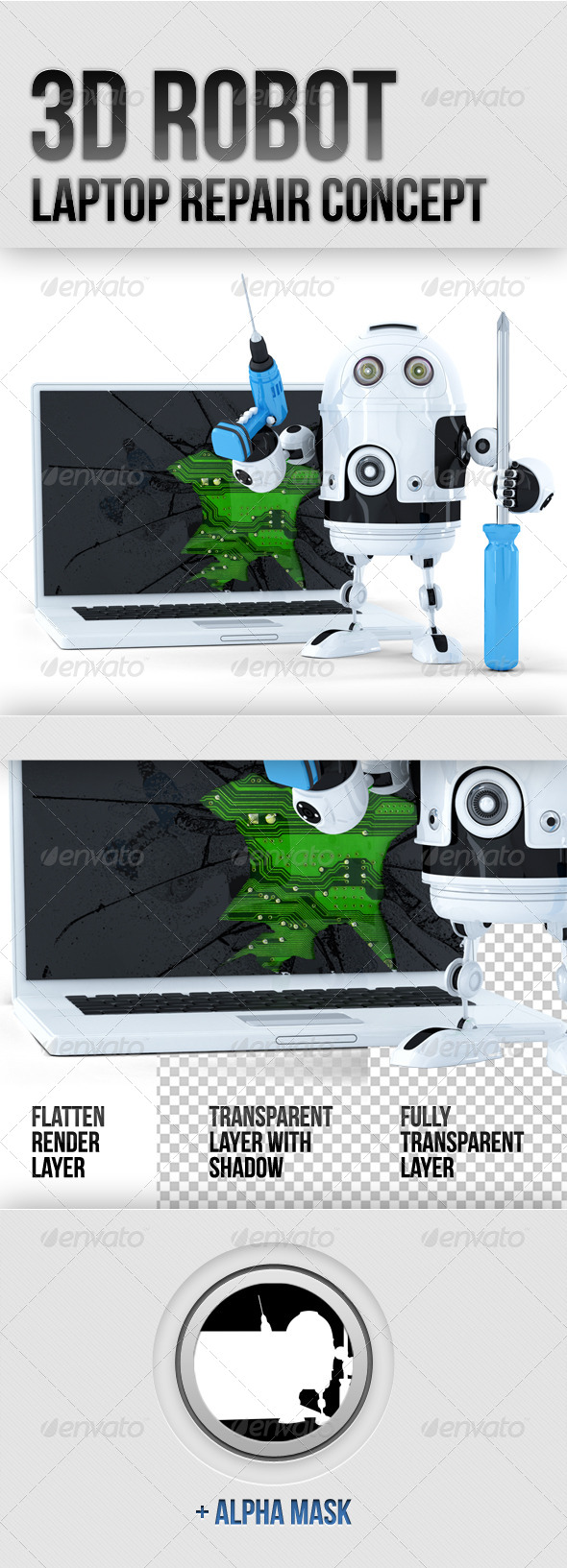 3D Robot with Broken Laptop - Technology 3D Renders