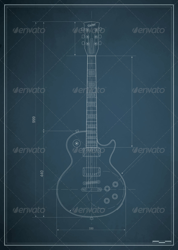 Blueprint electric guitar with the dimensions  - Objects Vectors