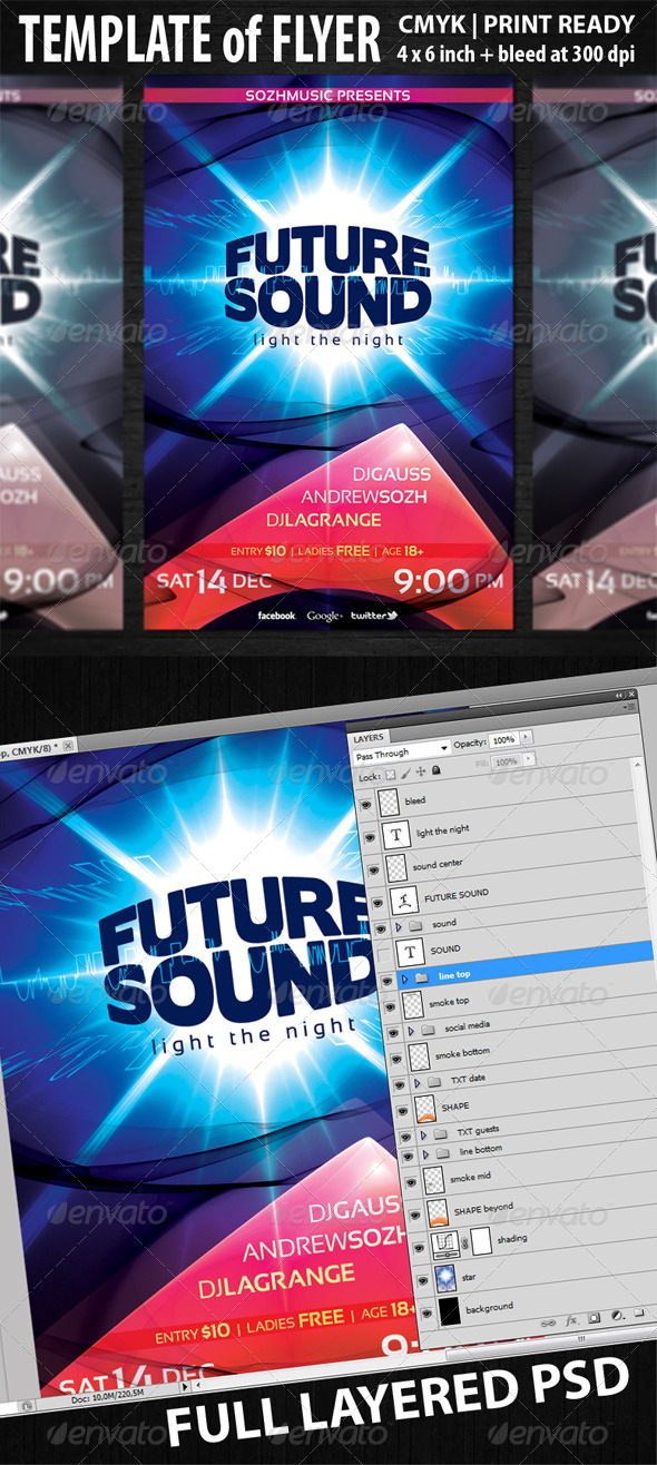 Future Sound Flyer Template - Clubs & Parties Events