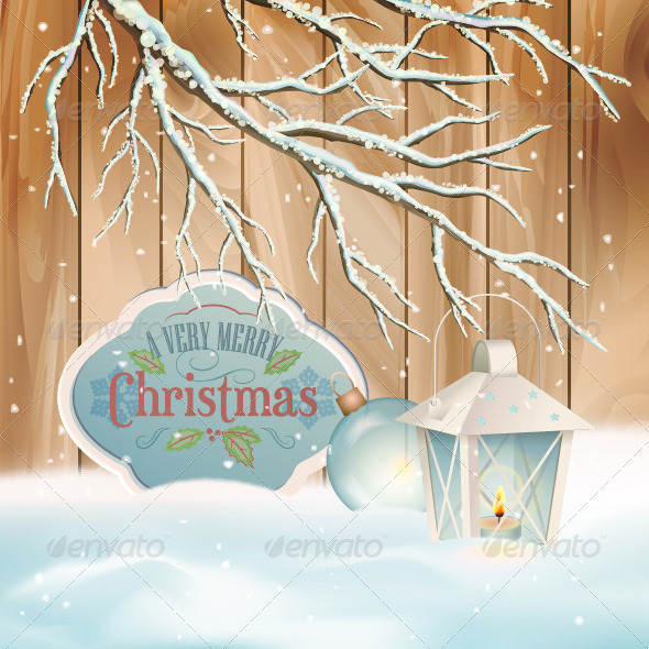 Vector Vintage Christmas Branch Lantern Background - Christmas Seasons/Holidays