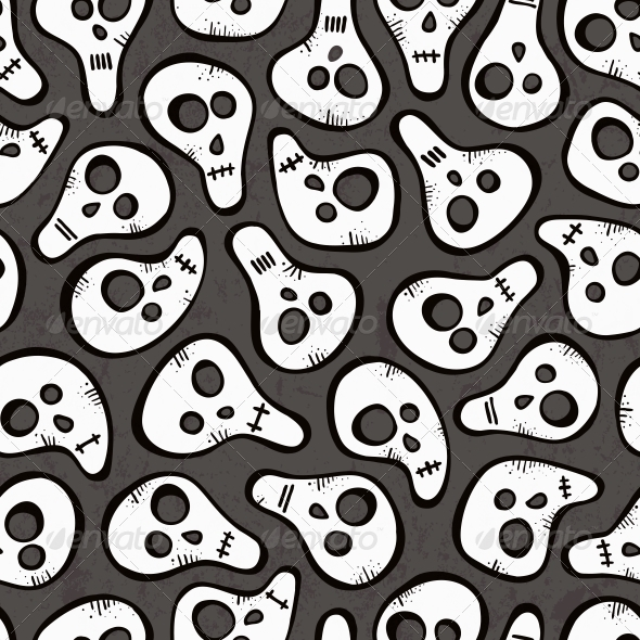 Seamless Pattern with Funny Skulls - Patterns Decorative