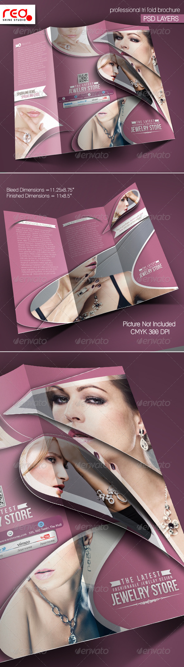 Jewelry Shop Trifold Brochure Template - 2 - Catalogs Brochures