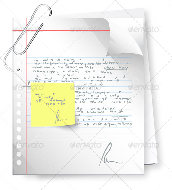 Text Document with Revision Note - Illustration - Concepts Business