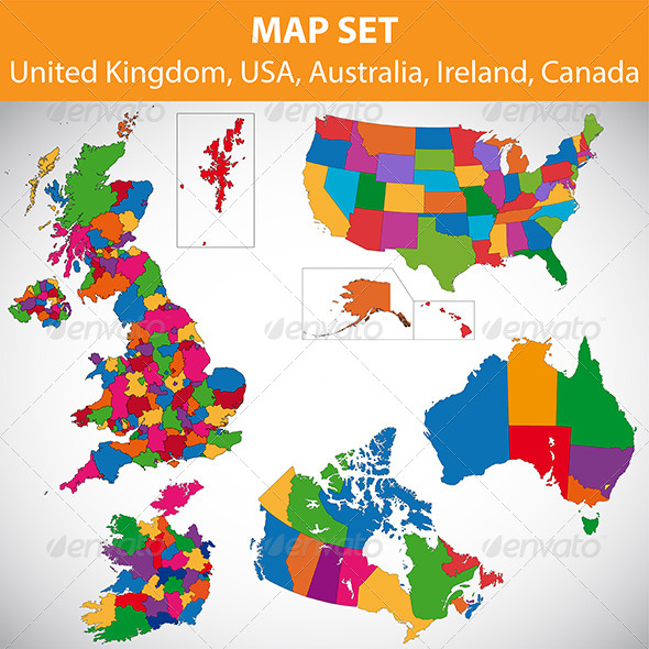 Map set - UK, USA, Canada, Australia, Ireland - Miscellaneous Illustrations
