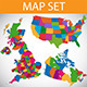 Map set - UK, USA, Canada, Australia, Ireland - GraphicRiver Item for Sale