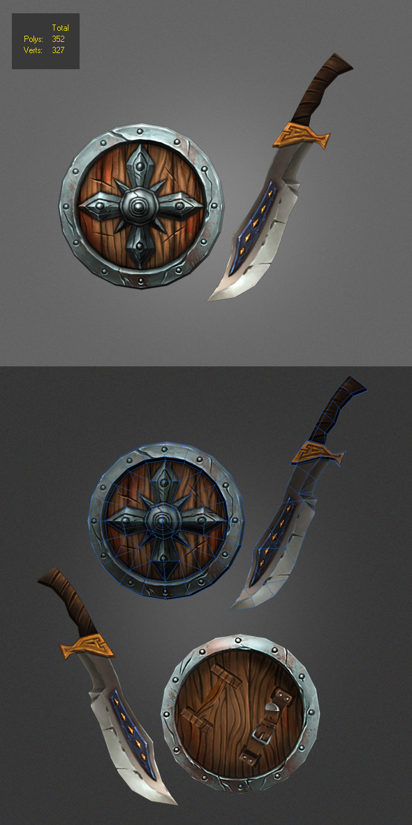 Low poly painted shield and Weapon  - 3DOcean Item for Sale