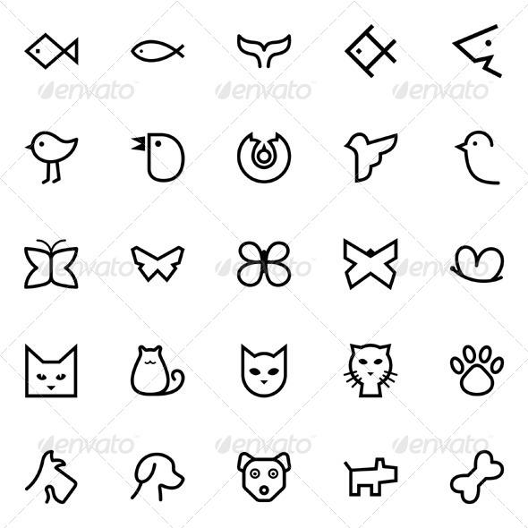 Fishes & Birds & Butterflies & Cats & Dogs - Decorative Symbols Decorative