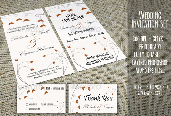 Wedding Invitation Set - 03 - Weddings Cards & Invites