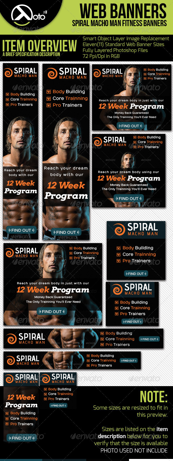 Spiral Fitness Web Banners - Banners & Ads Web Elements