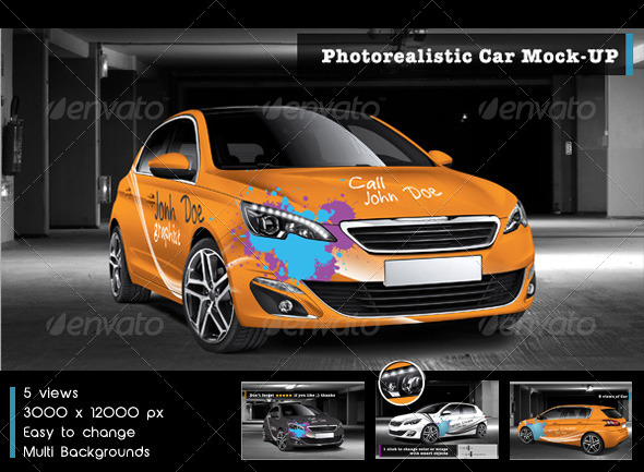 photorealistic car mock up vehicle wraps print