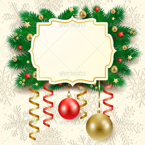 Christmas Background with Label - Christmas Seasons/Holidays