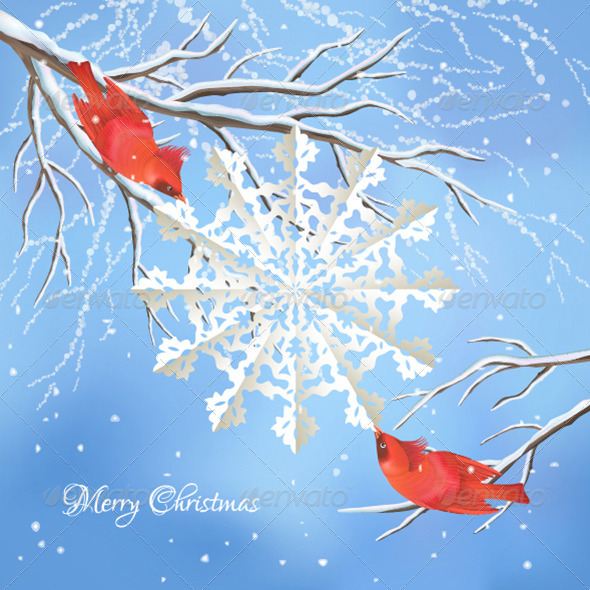 Christmas Snowflake Birds Tree Branch Background - Christmas Seasons/Holidays