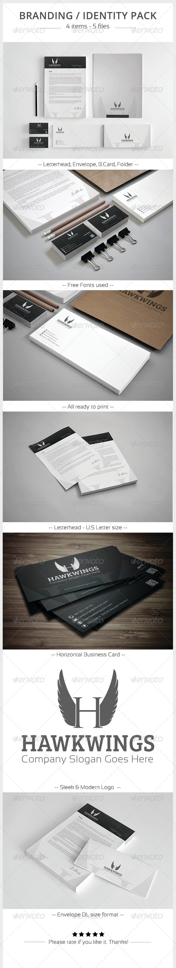 Hawkwings Corporate Identity Pack - Stationery Print Templates