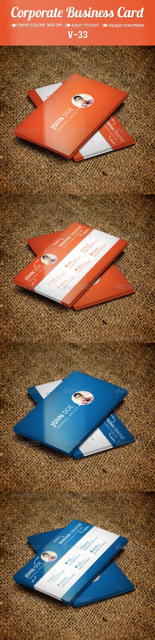 Corporate Business Card V-33 - Corporate Business Cards