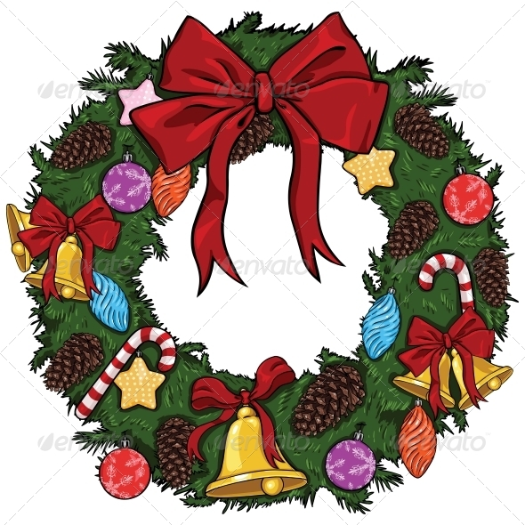 Vector Cartoon Christmas Wreath - Christmas Seasons/Holidays