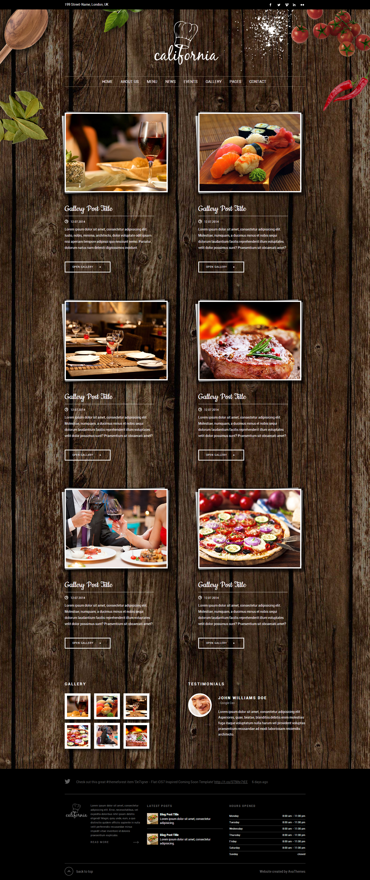 California - Restaurant Hotel Coffee Bar Website by AVAThemes ...