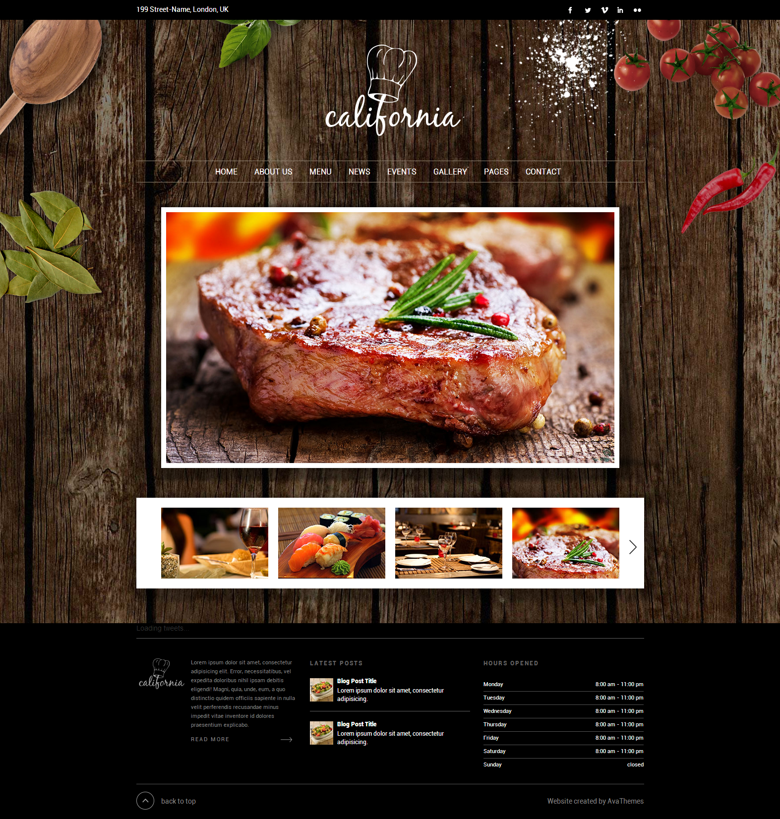 California restaurant hotel coffee bar website by for Cuisine site