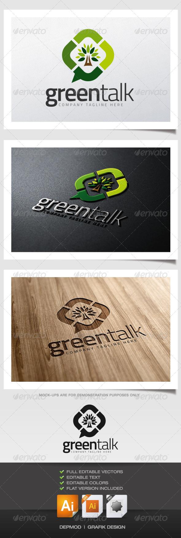 Green Talk Logo - Nature Logo Templates