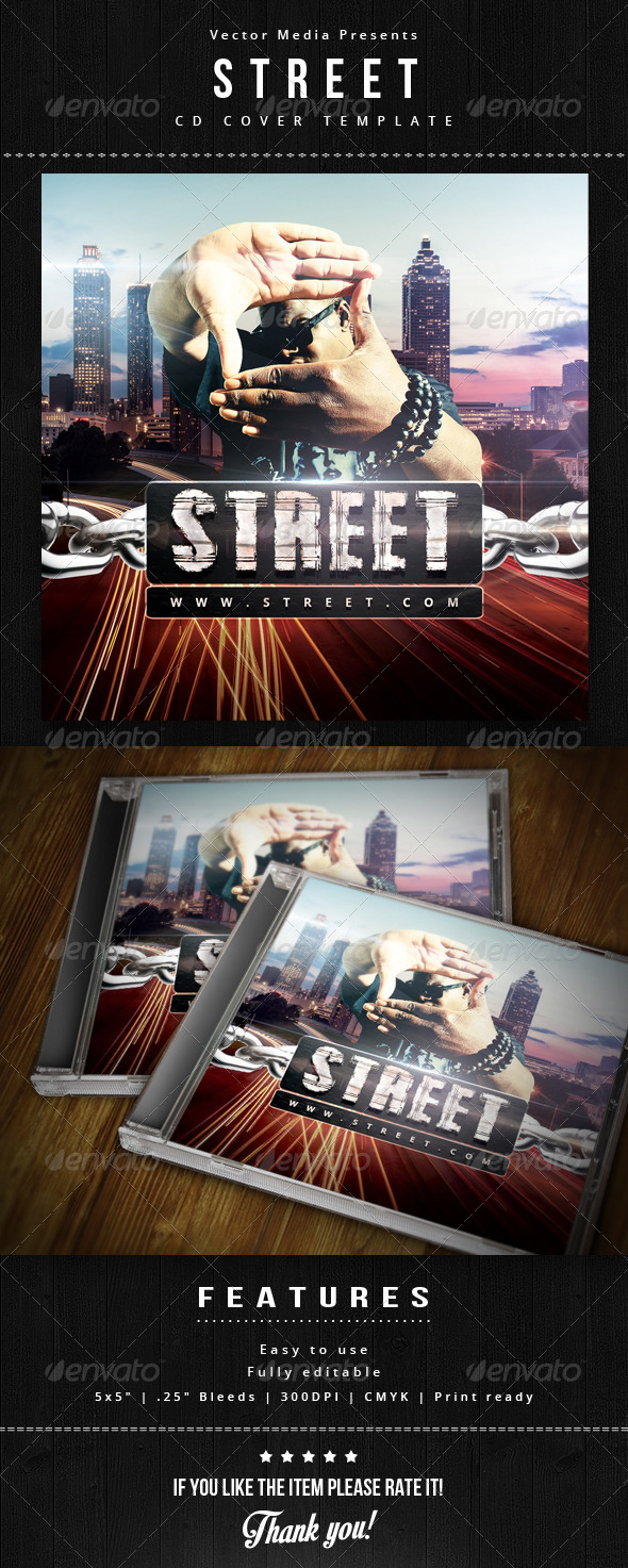Street - Cd Cover - CD & DVD Artwork Print Templates