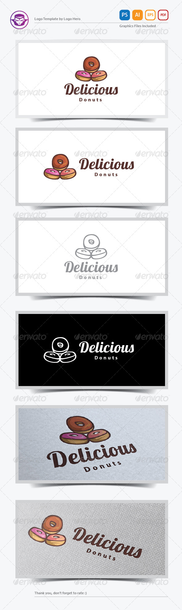 Delicious Donuts Logo Template - Food Logo Templates