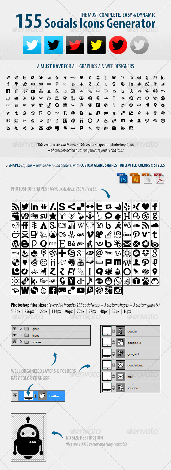 +155  Social Icons Generator - Icons