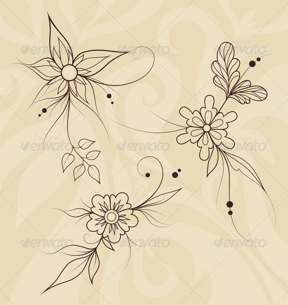 Outline Flowers on Abstract Romantic Background - Flourishes / Swirls Decorative