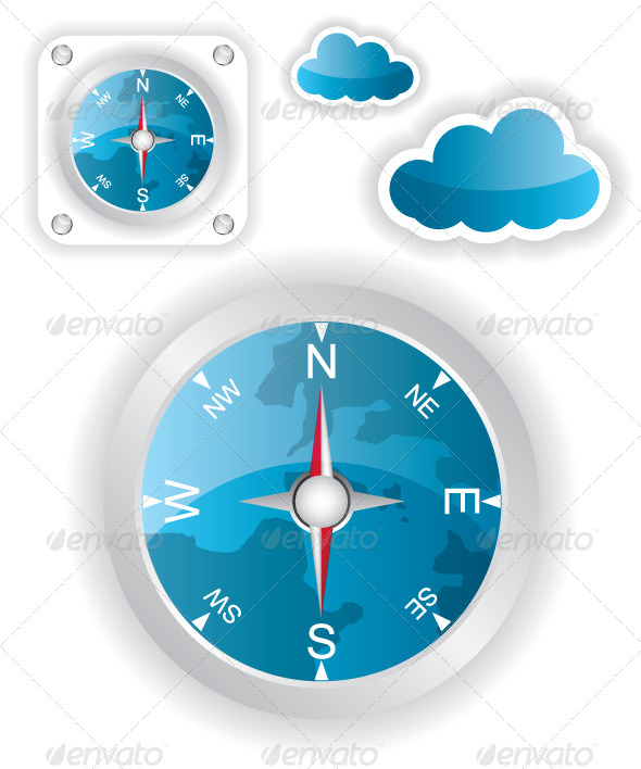 White Compass and Cloud Icons Illustration - Travel Conceptual