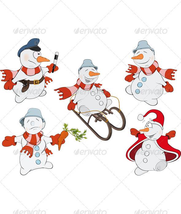 Snowman Cartoon - New Year Seasons/Holidays