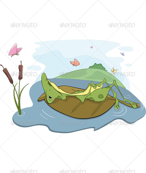 Frog on a Bog Cartoon - Animals Characters