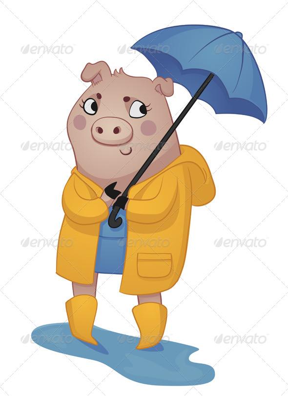 Cartoon Pig in Rain Gear - Animals Characters