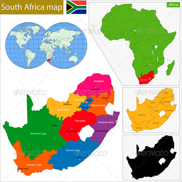 South Africa Map - Travel Conceptual