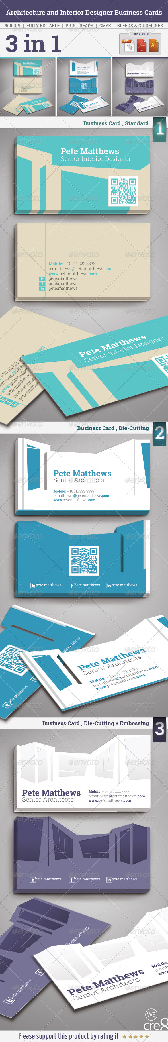 Architecture and Interior Designer Business Cards - Business Cards Print Templates