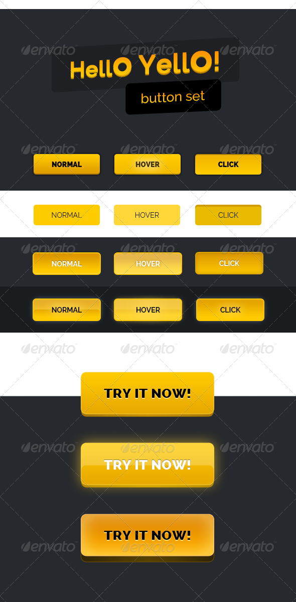 Hello Yello! Button set - Buttons Web Elements