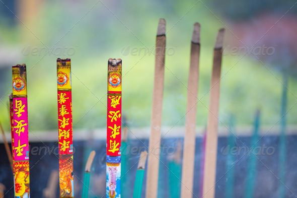 Incense in a Temple in Hangzhou - Stock Photo - Images